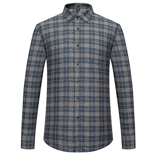 Los hombres de moda de algodón cepillado a cuadros camisas de un solo parche bolsillo manga larga ropa exterior casual gruesa camisa