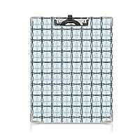 クリップボード 青 プレゼントA4 バインダー 波線のある正方形のパターン春のピクニック風のイメージ 用箋挟 クロス貼 A4 短辺とじスレートブルースカイブルー アーモンドグリーン