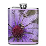 Purple Echinacea of Bee Framed Outdoor Portable 304 Stainless Steel Leak-Proof Alcohol Whiskey Liquor Wine 7OZ Pot Hip Flask Travel Camping Flagon for Man Woman Flask Great Little Gift