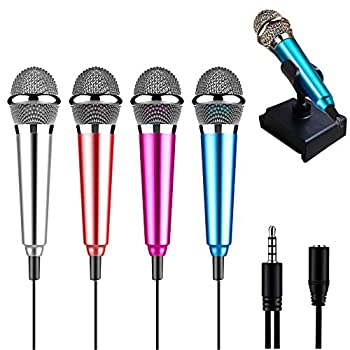 Rcanedny 4 Pieces Mini Microphone with Holder Clip and Sponge Mini Mobile Phone Microphone Karaoke Mini Microphone for Voice Recording and Singing