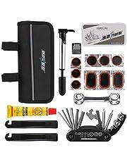 Hootracker Bicycle Repair Bag Set Bike Repair Multi Tool Kit with Mini Bicycle Repair Bag Set Bike Tire Fix Metal Rasp Glue-Less Patches Storage Bag Cyclist Bicycle