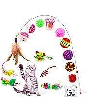 Amasawa 16 Piezas Juguetes para Gatos, Conjunto de Juguete de Gato,Juguete Interactivo del Ratón y La Pelota Varias Campanas y Plumas