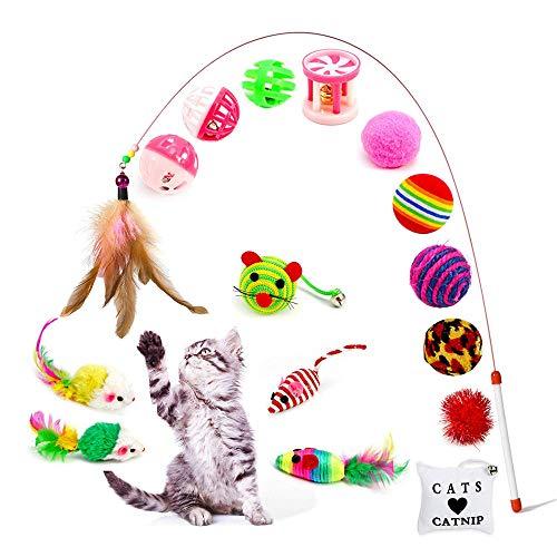 Amasawa Jouets Chat,Ensemble de 16 PiècesUn Pack de Variétés de Jouets Interactifs pour Souris et Chats avec Plumes,Jouets pour Chat Jouets Kitten Toys