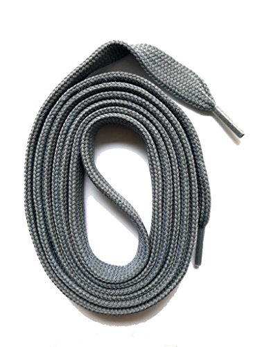 SNORS flache Schnürsenkel GRAU 130cm, 7-8mm, reißfest, Polyester, Made in Germany für Sportschuhe Sneaker Turnschuhe und Laufschuhe - ÖkoTex
