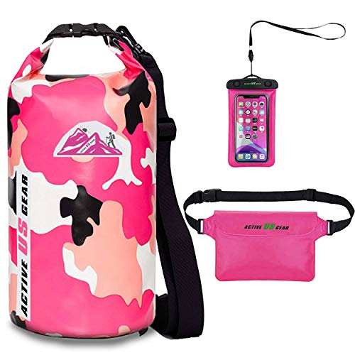 Floating Waterproof Dry Bag with Phone case and Waist Bag- Roll Top Dry Compression Sack Keeps Gear Dry for Kayaking, Swimming,Survival Gear, Boating,Hiking, Snorkelling Camo Pink Beach Backpack 10L