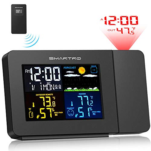 SMARTRO SC91 Projection Alarm Clock for Bedrooms with Weather Station, Wireless Indoor Outdoor...