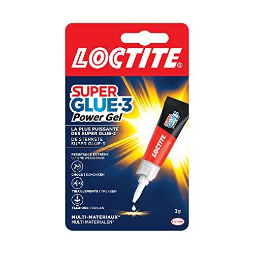 Loctite Super Glue-3 Power Gel, colle forte enrichie en caoutchouc, colle gel ultra-résistante, à séchage immédiat, colle transparente, tube 3 g