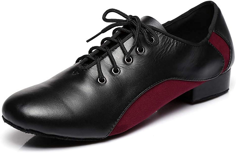 Fuxitoggo Herren Schnürschuhe 1 Standard Standard Heel Leder Wildleder Ballroom Latin Dance Schuhe (Farbe   Blakc rot, Größe   10.5 UK)