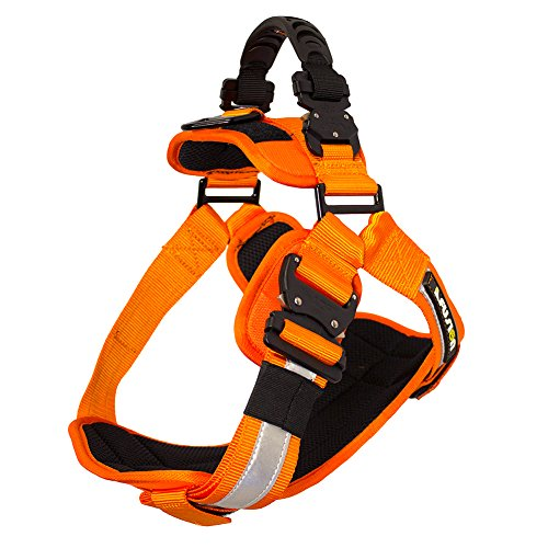 Fusion Pets Trekker Adjustable Hi-Vis Military Tactical Police K9 Ergonomic Reflective Strip Dog Harness Hunting Guard Canine Large Orange