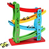Lewo Wooden Ramp Racer Toddler Toys Race Track Car Games for Kids Boys Girls Gifts with 4 Small Racers