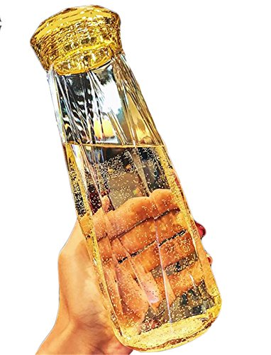 [ディーハウ]水筒 アウトドア 軽量 マグカップ ふた 漏れない 耐熱 ウォーターボトル 広口 透明 目盛り エスプレッソ ふた コップ 水筒 透明ボトル プラスチック 直飲み おしゃれ 男女兼用 プラスチック ステンレス かわいい イエロー