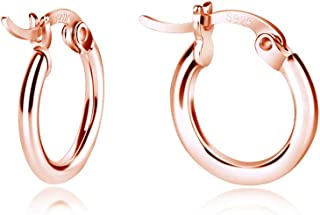 Sterling Silver Hoop Earrings, Small Clasp Hoop Earrings in Gold, Rose Gold, Silver for Women Girls