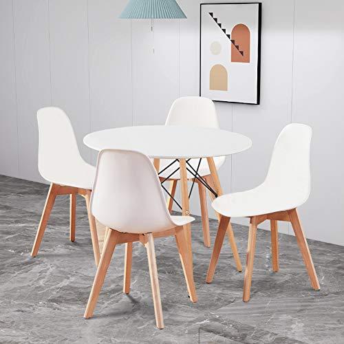 Juego de mesa y sillas de comedor moderno y mesa de comedor Eiffel redonda con 4 respaldos de polipropileno patas de madera maciza, utilizado en sala de estar, oficina y sala de ocio