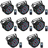 U`King LED Par Lights DJ Stage Light RGB 36 LED with Sound Activated Remote Control DJ Uplighting for Wedding Party Club Christmas Stage Lighting (8 Packs)