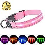 MASBRILL Collar LED Perro, Collar para Perro Luminoso Recargable y Impermeable, 3 Modos de Iluminación led y Tamaño Ajustable para Perros Pequeños Medianos Grandes(Rosa M)