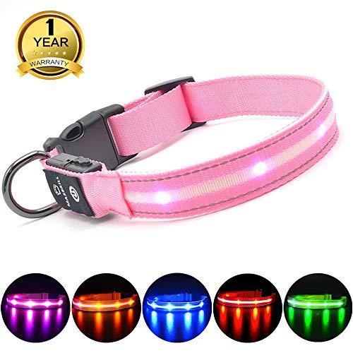MASBRILL Lichtgevende Hondenhalsband LED verlichting USB oplaadbare en verstelbare Veiligheid Honden halsband 100% Waterdicht Hond Kraag (XS, Roze)