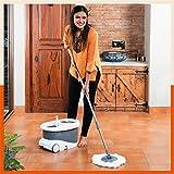 Bathla Ultra Clean Plus - Heavy Duty Microfiber Spin Mop with Large Trolley Wheels (Grey)