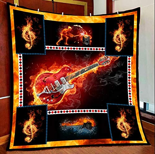 Amazing Guitar All Season Quilts Blanket Comforters Super King - Queen - Twin Size - Best Decorative for Bed, Couch, Sofa, Chair, Swing, Daybed, Home Decor