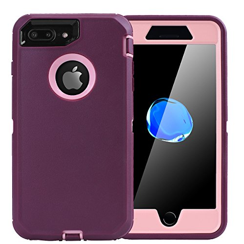 AICase iPhone 8 Plus/7 Plus Case, [Heavy Duty] [Full Body] Tough 4 in 1 Rugged Shockproof Cover with Built-in Screen Protector for Apple iPhone 8 Plus/7 Plus (Pink/Purple)