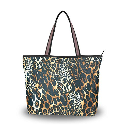 Women Large Tote Shoulder Handbag Vintage leopard print Top Handle Shopping Bags for Ladies