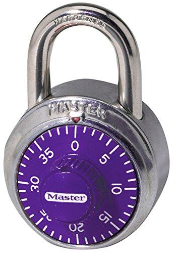 "Master Lock 1514D Padlock, Standard Dial Combination Lock, 1-7/8 in. Wide, Assorted Colors, 1.875"", Purple"