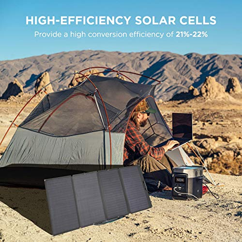 EF ECOFLOW 160 Watt Portable Solar Panel for Power Station, Foldable Solar Charger with Adjustable Kickstand, Waterproof IP67 for Outdoor Camping RV Off Grid System