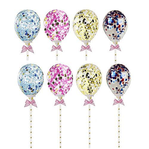 A+ 8 Stück Pailletten Ballons, Kuchen Dekorieren Cupcake Topper,Latex Pailletten Luftballons, Luftballons Cake Topper, Luftballons Kuchen Dekoration für Mädchen Kinder Party