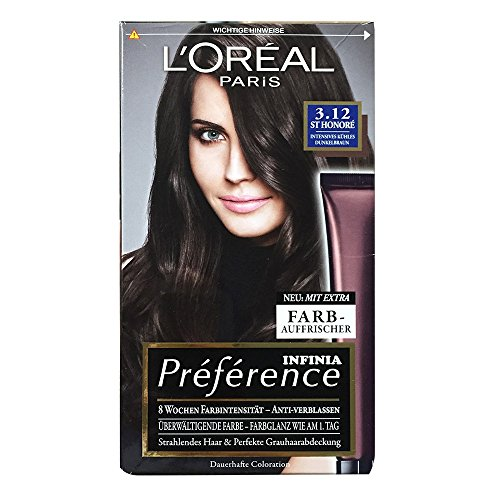 L'Orèal Paris Recital Preference Nr. 3.12 STHONORÉ Intensives kühles Dunkelbraun Premium-Intensiv-Glanz Farbe - Dauerhafte Coloration mit optimaler Grauhaarabdeckung. Coloration Haarfarbe