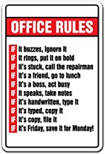 OFFICE RULES Sign boss Monday Friday employee workplace | Indoor/Outdoor | 14