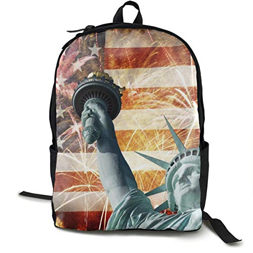 YongColer Lightweight Polyester Daypack Statue of Liberty Firework American Flag Patriotic Travel Hiking Backpack - Large Capacity Anti-Theft Multipurpose Bookbag for Man/Women/College Teen Girls