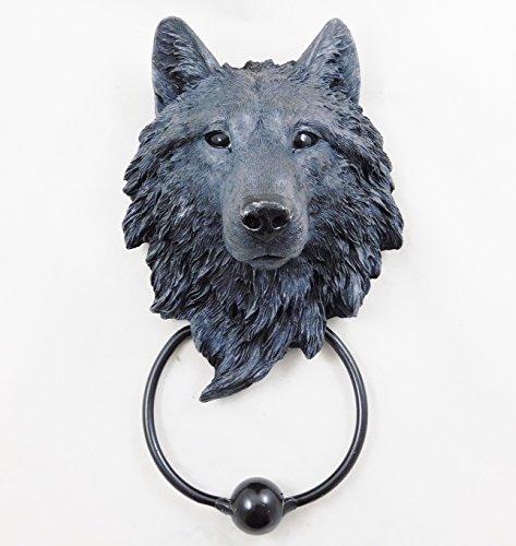 Wolf Türklopfer Schwarz Wolf head handbemalt Ornament   3877
