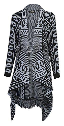 Womens Aztec Tribal Stripe Diamond Print Frill Knitted Waterfall Cardigan
