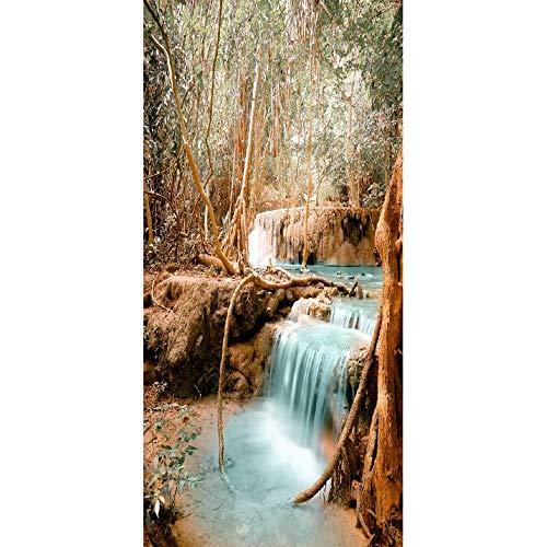 Bdhnmx 3D deur muurschilderingen schil en stok steen boom wortel en waterval muurschilderingen huisdecoratie zelfklevend behang verwijderbare poster 77x200cm (30.3