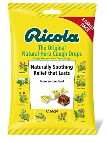 ricola sore throat reliefs Ricola Original Herb Cough Drops, 50 Drops, Unique Swiss Natural Herbal Formula with Menthol, for Effective Long Lasting Relief, for Coughs, Sore Throats Due to Colds