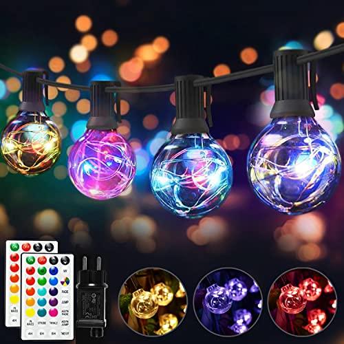 LED Lichterkette Außen Innen Bunt, G40 Lichterkette Außen Strom, 7 Modus 16 Farben Wasserdicht IP65 Glühbirne mit Fernbedienung für Weihnachten Deko Halloween Hochzeit Zimmer Garten Party (30+2)