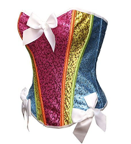 Bslingerie® Regenbogen Farbe Pailletten Vollbrust Korsett (S - EU 34, Regenbogen)