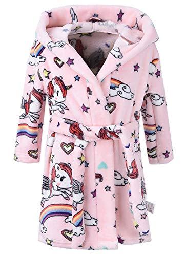 LLXX Kinder Bademäntel für Mädchen Jungen, Baby Kleinkind Robe Mit Kapuze Flanell Bademantel Pyjamas Nachtwäsche für Mädchen Jungen (A(Rosa Einhorn), 5T / Höhe120cm)