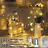 AmaHome Estrella Luces De Cadena 80 LED Luces De Hadas 10M Centelleo Luces De Navidad USB De Pilas Impermeable Decoración Navideña para Dormitorio Interior y Exterior 8 modos Control Remoto