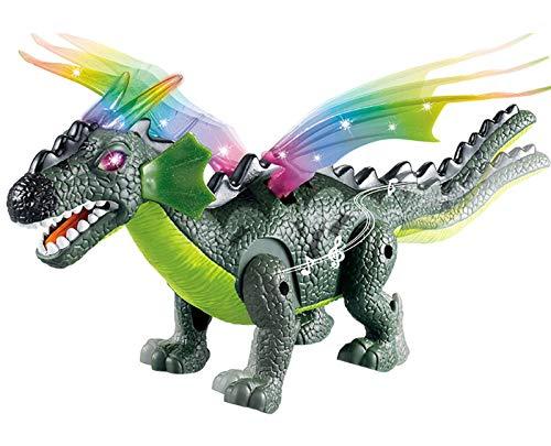 Juguete De Dinosaurio Kids Electric Dinosaur Toy RC Animal Toys con Caminar, Columpio De Extremidades, Alas Brillantes, Funciones De Simulación De Rugido para Niños Y Niñas