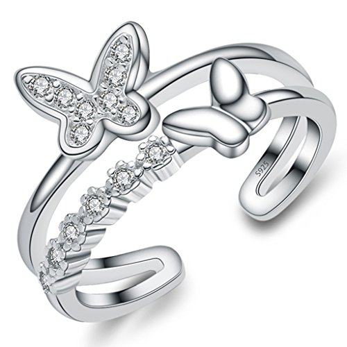 Unendlich U Zweistöckige Ring Schmetterling 925 Sterling Silber Einstellbare Eternity Channel Set Zirkonia Kleiner Finger Ringe für Mädchen Damen, Ringgröße 46