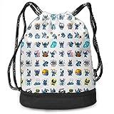 Etryrt Mochila de Cuerda Bolsas de Gimnasia Stylish Stitch Lightweight Sackpack Sport Gym Bundle Backpack
