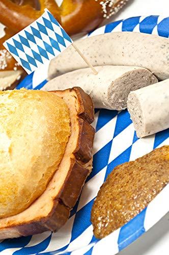Oktoberfest-Paket:1,4 kg Bayrischer Leberkäse gebacken und 1,4 kg Weißwurst (10 Paar) + 20 Portionen süßem bayrischen Senf.Für ca. 10 Personen