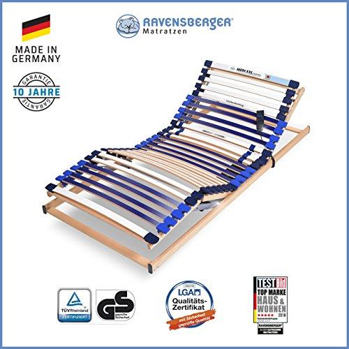 RAVENSBERGER MEDI XXL® 5-Zonen-30-Leisten-BUCHE- Schwergewichtsrahmen | Elektrisch | Made IN Germany - 10 Jahre GARANTIE | Blauer Engel - Zertifiziert | 100 x 200 cm | Kabel-Fernbedienung