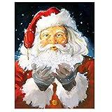 XXSCZ Set de Bricolaje para Pintar por números para Adultos y niños, con Lienzo de Lino con Santa Claus-4 Pintura al óleo, 40x50 cm (Sin Marco)