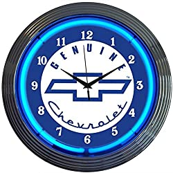 GM Chevrolet Chevy Genuine Electric Neon 15 Inch Wall Clock Glass Face Chrome Finish USA Warranty