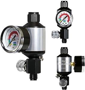 LE LEMATEC Compressed Air Filter Regulator Compressor Filter Oil Water Separator Regulator Combo with Gauge. AI303-R1