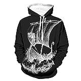 Shinelly Sudadera con capucha para hombre, diseño de barco vikingo con dragón Valhalla aventura con capucha, manga larga, con bolsillos, parte superior activa blanco XL