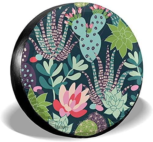 Lewiuzr Cubierta de neumático de Repuesto Impermeable de Cactus Tropical con Flores Florales para Ajuste Universal