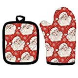 NETILGEN Cute Christmas Oven Mitts and Potholders, Santa Claus Printed Microwave Heat Resistant Gloves, Heavy Duty Cotton Kitchen Gloves & Potholder Slipfree BBQ Gloves Washable Polyester