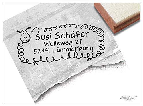 ZAcheR-FineT Stempel, persoonlijke adresstempel, schaapje, kinderstempel, gepersonaliseerd naam, adres, dierentuin, schoolcadeau voor kinderen